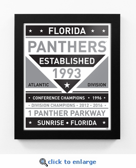 Florida Panthers Black and White Team Sign Print Framed