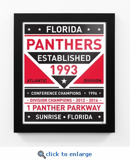 Florida Panthers Dual Tone Team Sign Print Framed
