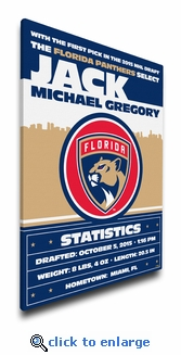 Florida Panthers Personalized Canvas Birth Announcement - Baby Gift