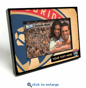 Florida Panthers Personalized Vintage Style Black Wood Edge 4x6 inch Picture Frame