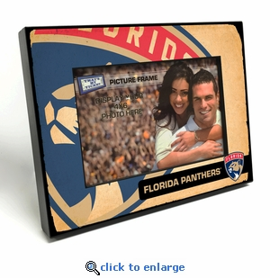 Florida Panthers Vintage Style Black Wood Edge 4x6 inch Picture Frame