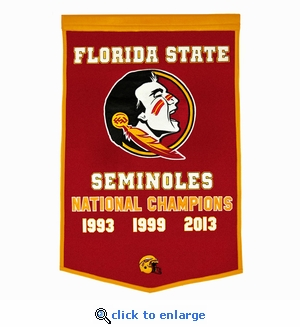 Florida State Seminoles National Champions Dynasty Wool Banner (24 X 36)