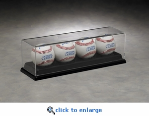 Four Baseball Rectangular Acrylic Display Case with Black Formed Base