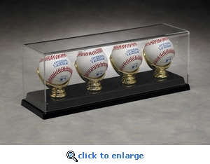 Four Baseball Rectangular Acrylic Display Case with Gold Glove Holders and Formed Base