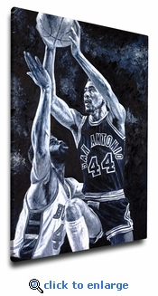 George Gervin 12x18 Art Reproduction on Canvas by Justyn Farano - San Antonio Spurs