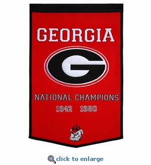 Georgia Bulldogs National Champions Dynasty Wool Banner (24 X 36)