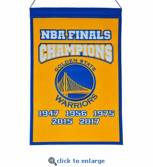Golden State Warriors 5-Time NBA Champions Wool Banner (14 x 22)