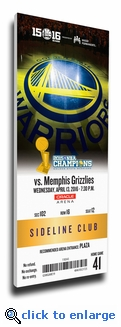 Golden State Warriors 73rd Win Canvas Mega Ticket