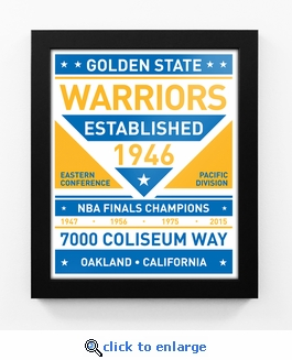 Golden State Warriors Dual Tone Team Sign Print Framed