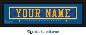 Golden State Warriors Personalized Stitched Jersey Nameplate Framed Print