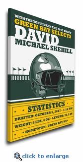 Green Bay Football Themed Personalized Canvas Birth Announcement - Nursery Decor