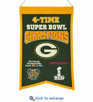 Green Bay Packers 4-Time Super Bowl Champions Wool Banner (14 x 22)