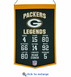 Green Bay Packers Legends Wool Banner  (14 x 22)