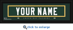 Green Bay Packers Personalized Stitched Jersey Nameplate Framed Print