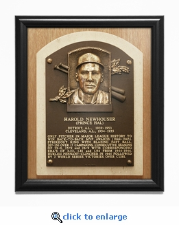 Hal Newhouser Baseball Hall of Fame Plaque Framed Print - Detroit Tigers