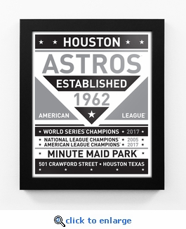 Houston Astros 2017 World Series Champions Black and White Team Sign Print Framed