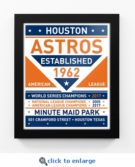 Houston Astros 2017 World Series Champions Dual Tone Team Sign Print Framed