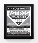 Houston Astros Black and White Team Sign Print Framed
