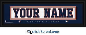 Houston Astros Personalized Stitched Jersey Nameplate Framed Print