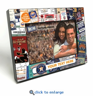 Houston Astros Personalized Ticket Collage Black Wood Edge 4x6 inch Picture Frame