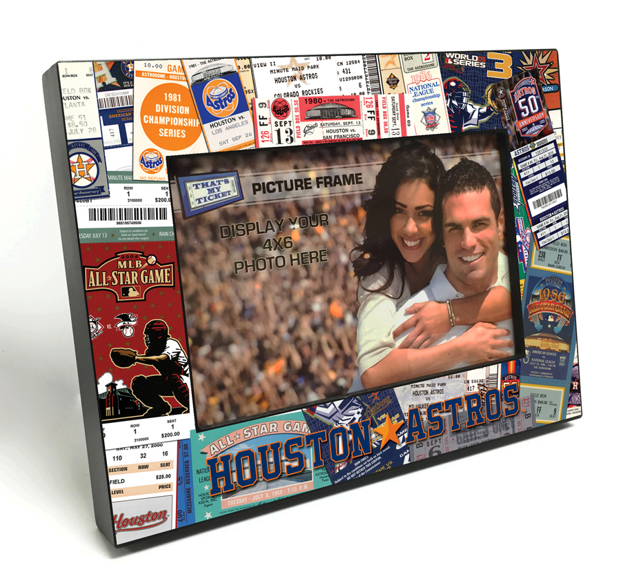 Houston Astros Ticket Collage Black Wood Edge 4x6 Inch Picture Frame