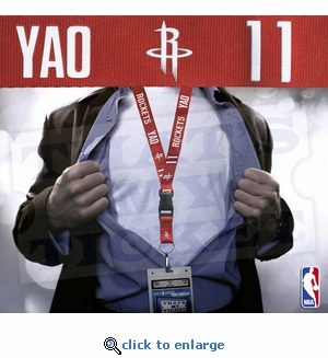 Houston Rockets NBA Lanyard Key Chain and Ticket Holder - Yao Ming