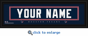 Houston Texans Personalized Stitched Jersey Nameplate Framed Print
