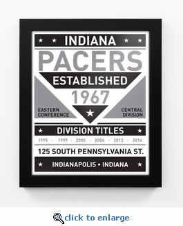 Indiana Pacers Black and White Team Sign Print Framed