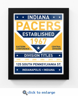 Indiana Pacers Dual Tone Team Sign Print Framed