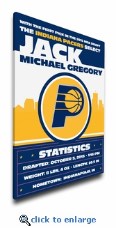 Indiana Pacers Personalized Canvas Birth Announcement - Baby Gift
