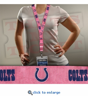 Indianapolis Colts NFL Lanyard Key Chain and Ticket Holder - Pink