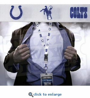 Indianapolis Colts NFL Lanyard Key Chain and Ticket Holder - White Throwback