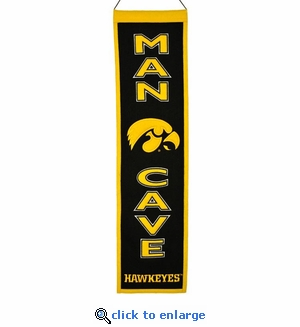 Iowa Hawkeyes Man Cave Wool Banner (8 x 32)