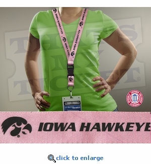 Iowa Hawkeyes NCAA Lanyard Key Chain and Ticket Holder - Pink