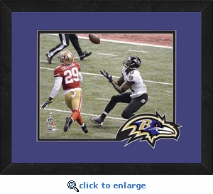 Jacoby Jones/Baltimore Ravens Framed Super Bowl 47 Touchdown Photo