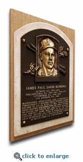 Jim Bunning Baseball Hall of Fame Plaque on Canvas - Philadelphia Phillies
