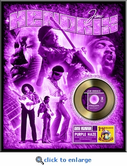 Jimi Hendrix - Purple Haze Framed Gold 45, LE 2,500