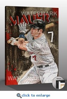 Joe Mauer - Hit Parade - 12x18 Art Reproduction on Canvas by Justyn Farano - Twins