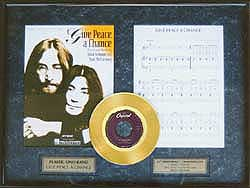 John Lennon - Give Peace a Chance Framed Gold Record w/ Music, LE 5,000