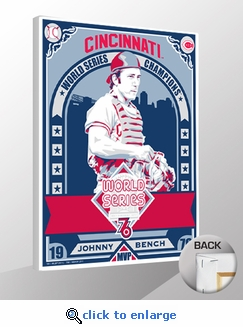 Johnny Bench 1976 World Series Champions Sports Propaganda Canvas Print - Reds