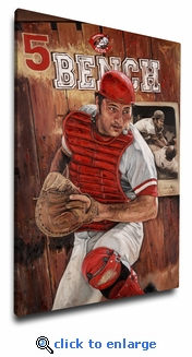 Johnny Bench 12x18 Art Reproduction on Canvas by Justyn Farano - Reds