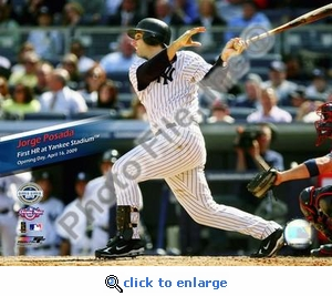 Jorge Posada 1st Home Run 2009 Yankee Stadium Inaugural Game 8x10 Photo