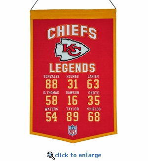 Kansas City Chiefs Legends Wool Banner  (14 x 22)