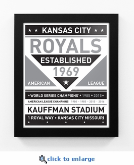 Kansas City Royals Black and White Team Sign Print Framed