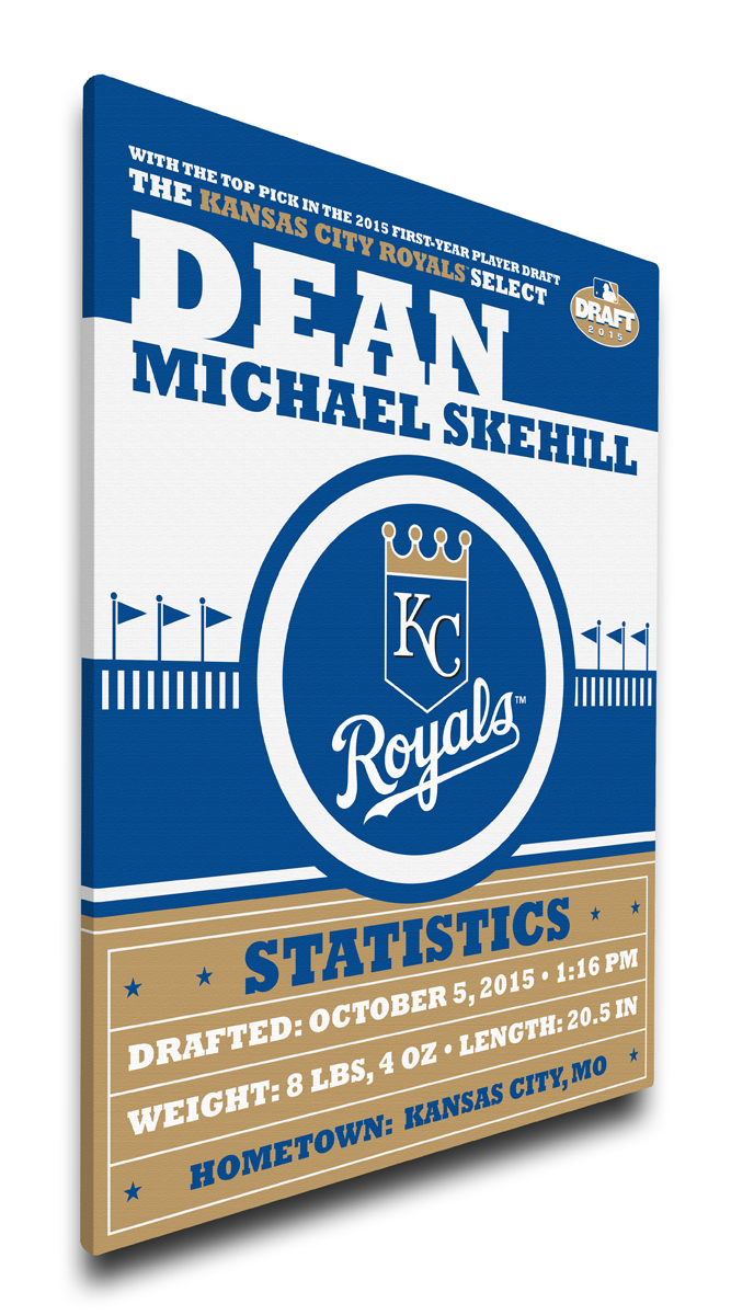 Kansas city royals personalized canvas birth announcement baby gift negle Image collections