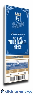 Kansas City Royals Personalized Special Occasion Announcement on Canvas - Ticket Design