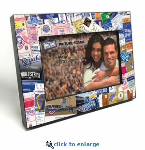 Kansas City Royals Ticket Collage Black Wood Edge 4x6 inch Picture Frame