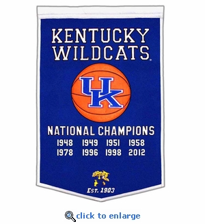 Kentucky Wildcats National Champions Dynasty Wool Banner (24 X 36)