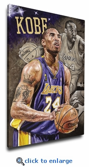 Kobe Bryant 12x18 Art Reproduction on Canvas by Justyn Farano - Los Angeles Lakers