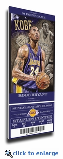 Kobe Bryant Artist Series Canvas Mega Ticket - Los Angeles Lakers (Farano)